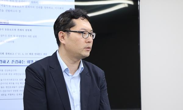 15일 서울시수의사회 제5차 이사회를 방문한 전재명 서울시 동물보호과장