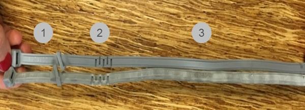 위쪽 목걸이가 위조품, 아래쪽 목걸이가 진품이다. (사진 : 바이엘코리아)