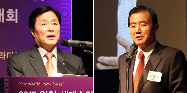 김옥경 대한수의사회장(왼쪽)과 홍문표 국회의원(오른쪽)