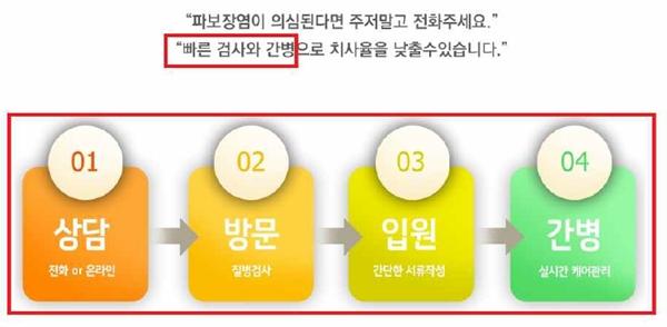 불법 진단검사를 홍보한 위반업체 홈페이지 캡쳐 (자료 : 대한수의사회)