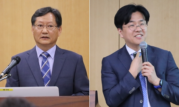 동물과 사람에서의 SFTS 현황을 소개한  채준석 서울대 교수(왼쪽)와 이재갑 한림대 교수(오른쪽)