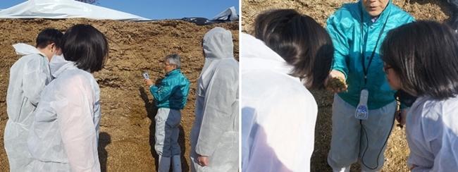 젖소의 사료를 소개하는 키다 교수님(좌) 좋은 조사료에서는 요거트 향이 난다(우)