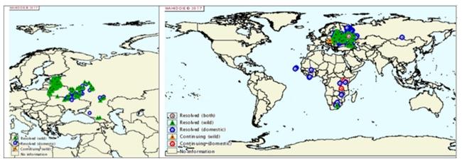 그림1. 아프리카돼지열병이 한국에 관심을 끌기 시작했던 2015년 당시의 아프리카돼지열병 발병 지도(좌측)와 그 이후로 최근까지 발병된 발병지도(우측).