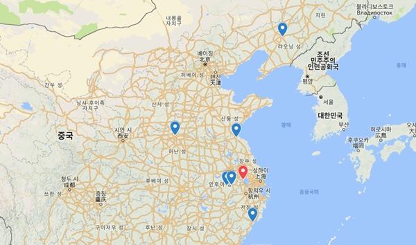 중국 내 ASF 발병 현황. 붉은 표시가 3일 발표된 장쑤성 우시시.