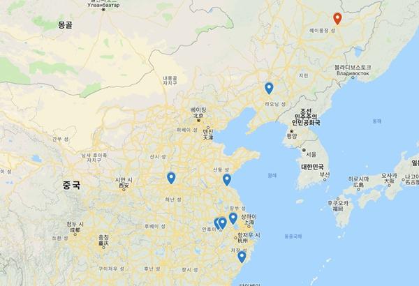중국 내 ASF 발병 분포. 붉은 표시가 5일 확인된 헤이룽장성 자무쓰시.