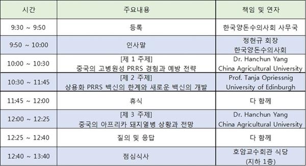 2018 서울대 PRRS 심포지엄 일정