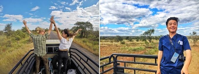 업무 시간 외에도 게임 드라이빙을 통해 다양한 동물들을 접할 수 있다. (왼쪽부터) 실습을 함께 했던 Katharina, Jennifer와 나