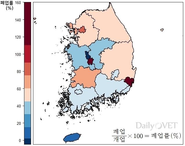 2017.10월~2018.10월 시도별 동물병원 폐업률 (자료 : 대한수의사회, 지도시각화ⓒ2018.이규영)