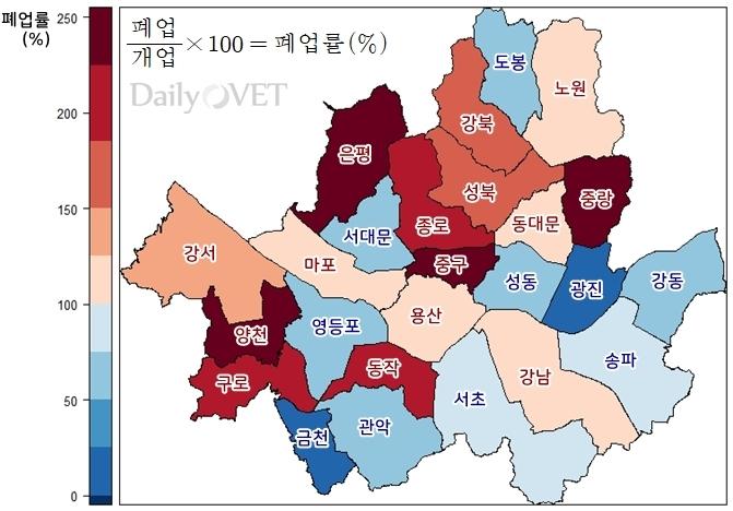 2017.10월~2018.10월 서울시내 자치구별 동물병원 폐업률 (자료 : 대한수의사회, 지도시각화ⓒ2018. 이규영)