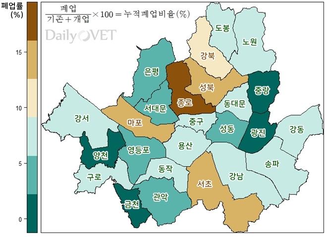 2017.10월~2018.10월 서울시내 자치구별 동물병원 누적폐업비율 (자료 : 대한수의사회, 지도시각화ⓒ 2018. 이규영)