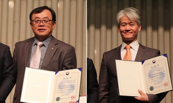 (왼쪽부터) 농림축산식품부장관상을 수상한 양은범, 윤종웅 수의사