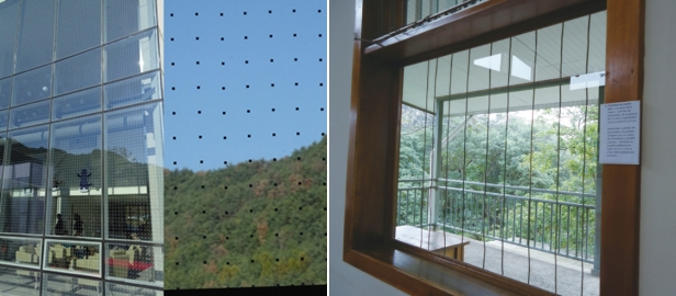 격자무늬를 적용하거나(왼쪽), 줄을 늘어뜨리는 방법(오른쪽)으로 조류 충돌을 예방할 수 있다. (사진 : 환경부)