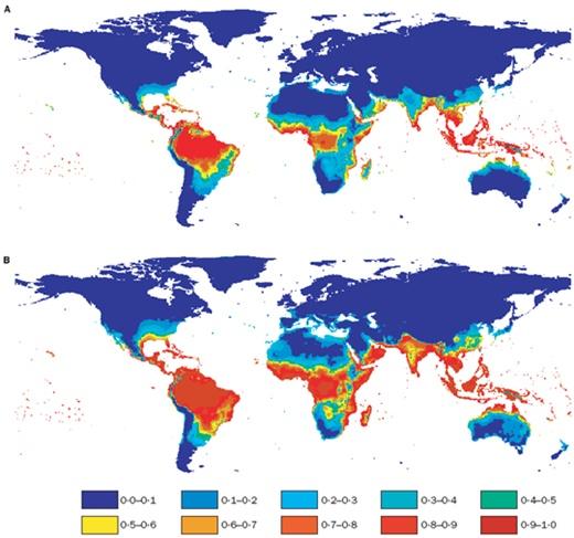 그림 9. 뎅기열 발생 위험지도 예측 자료(A, 1990년; B, 2085년)(Hales et al., 2002)