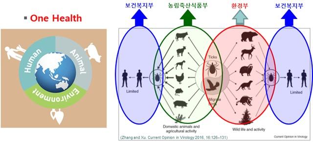 그림 22. 질병의 원인은 병원체, 매개체, 가축, 야생동물 및 사람과 관련되어 있으므로 관련 부처에서 공동 해결을 위한 One Health 개념도