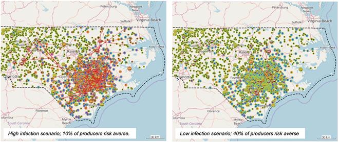 농장의 차단방역 실천 정도에 따라 변화하는 미국 노스캐롤라이나주 PED 발생 시나리오 (자료 : 버몬트대학)