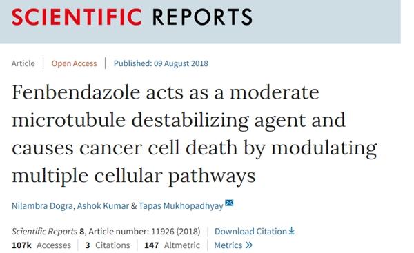 펜벤다졸의 항암효과에 대한 연구논문(2018, Scietific report)