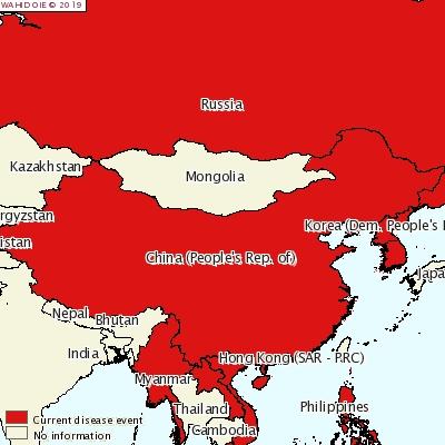 사진1. 2019년 아시아 지역의 ASF 발생 현황 (출처 : OIE)
