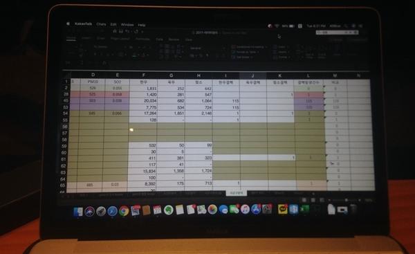 엑셀로 데이터를 정리하는 모습