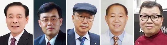 (왼쪽부터 기호순) 김중배, 양은범, 이성식, 상래홍, 허주형 후보