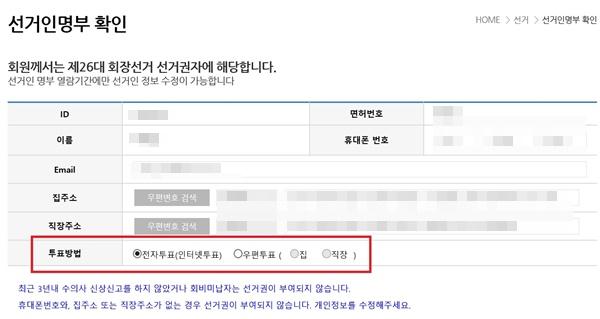 대한수의사회 홈페이지 [선거인명부 열람] 탭에 관련 정보 수정 창이 뜬다면, 투표할 수 있는 선거인에 포함됐다는 의미다. 이 페이지에서 투표 방법을 결정할 수 있다.