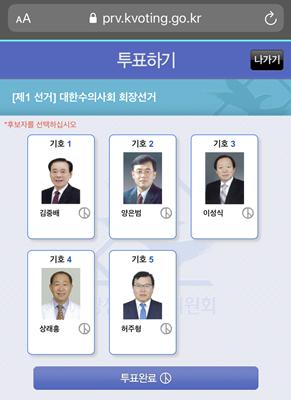 제26대 대한수의사회장 선거 인터넷 투표화면