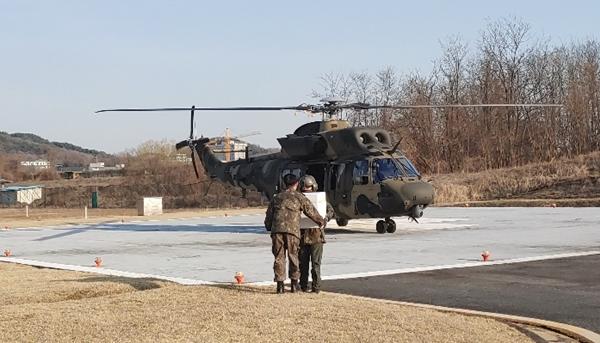 신속한 검체 수송을 위해 헬기까지 동원된다 (사진 : 육군 수의병과)