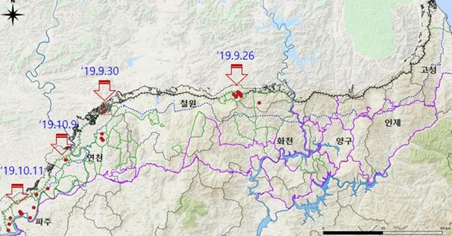 ASF 양성 멧돼지 폐사체의 폐사추정일을 분석한 결과, 초기 북한 접경지역에서 발생한 것으로 나타났다. (자료 : 환경과학원)