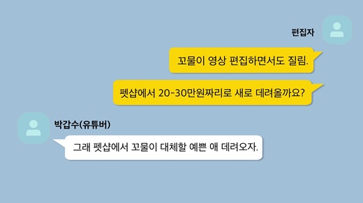 갑수목장의 유튜버 박갑수와 편집자 김모씨의 재구성 카카오톡 대화. 두 사람 모두 수의대생이다.